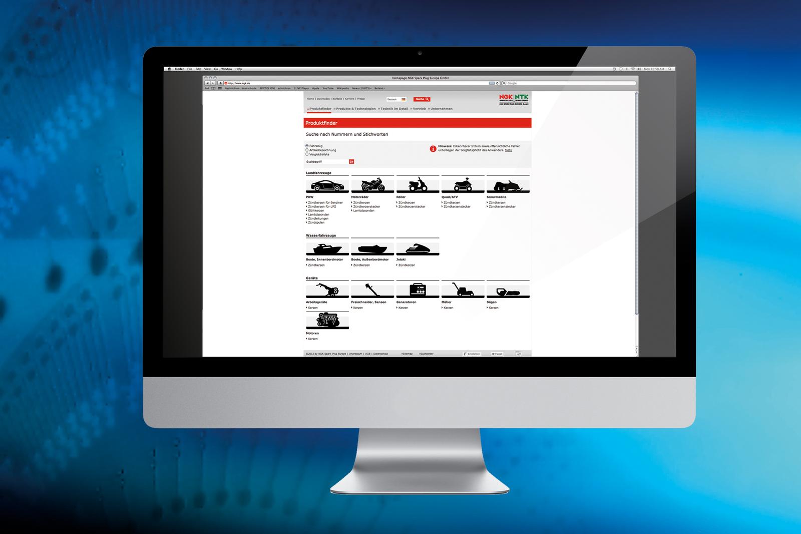 Online NGK productzoeker met kruistabel