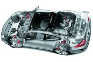 Slimme Delphi-motorsteunen verbeteren Porsche-wegligging