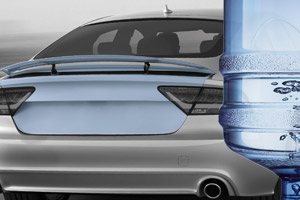Auto-onderdelen gemaakt van petflessen