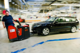 Saab legt productie stil door onderdelentekort