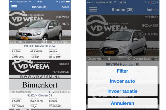 Used Car Controller-app taxeert en publiceert
