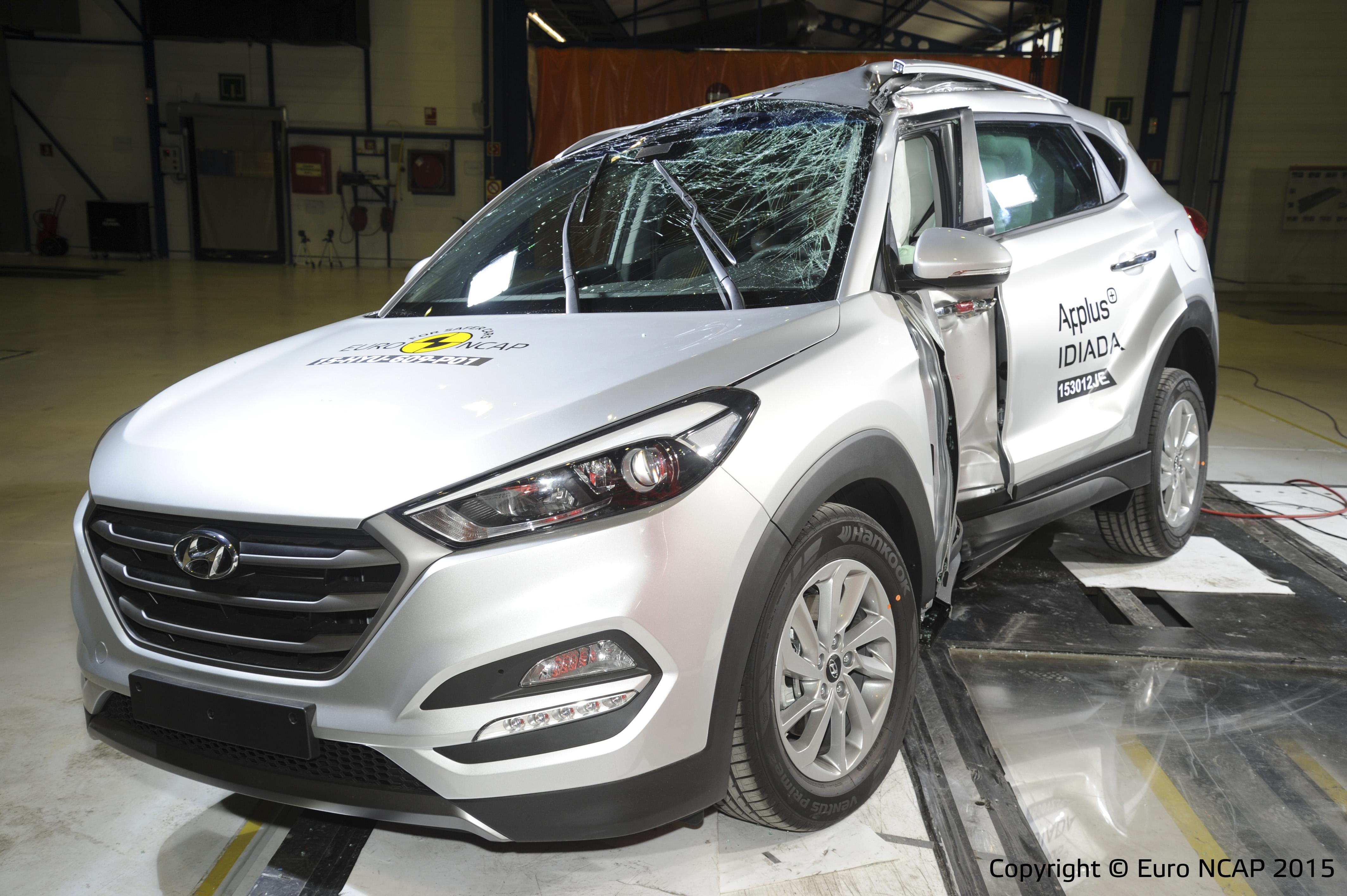 Gemene schade aan de Hyundai Tucson, maar heel weinig mis met de bescherming die hij dan biedt.