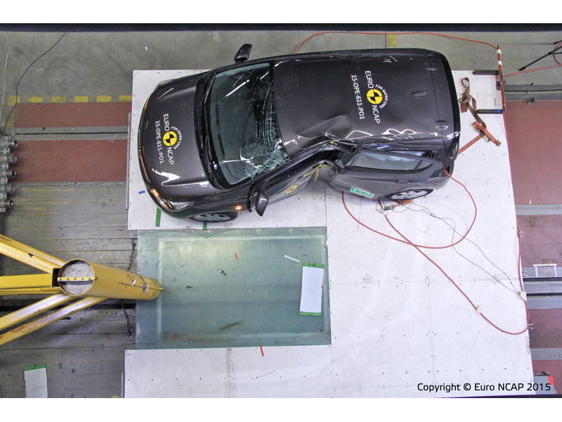 De zwaar gemangelde Opel Karl beschermt bij de zwaarste Euro NCAP tests niet echt naar tevredenheid.