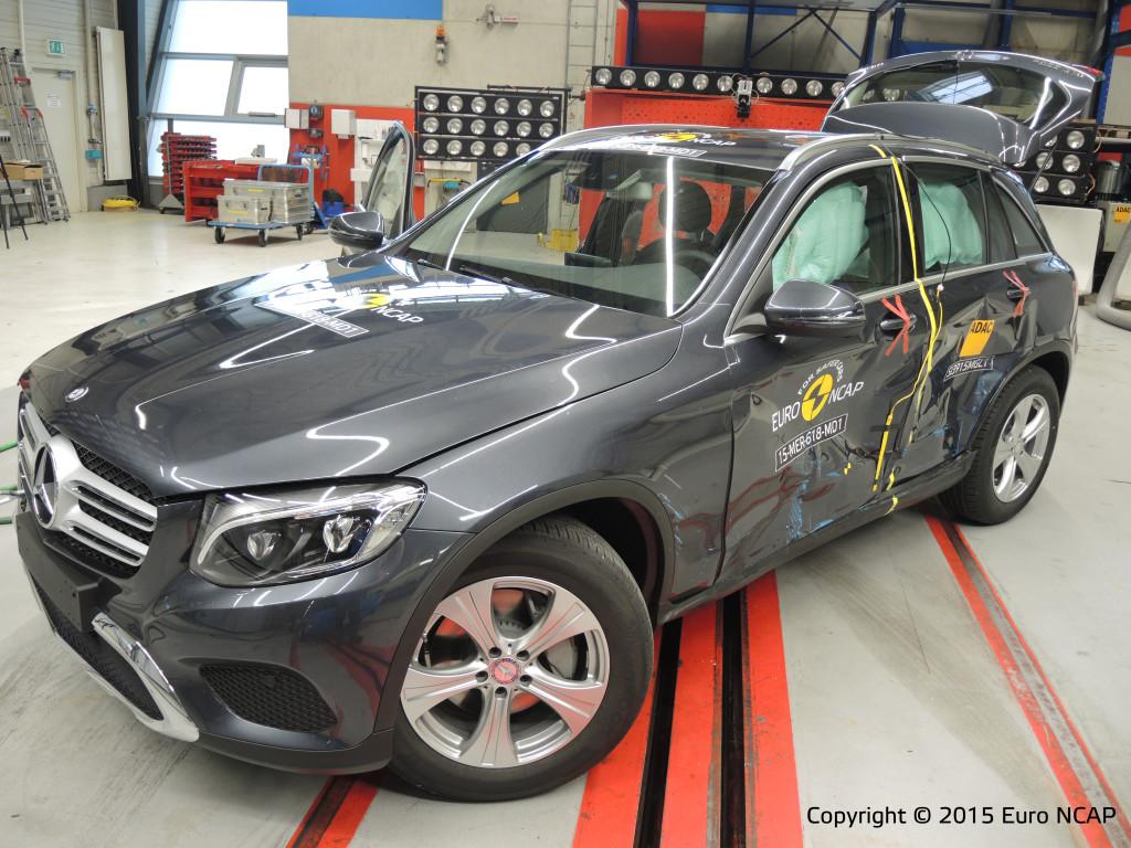 Topscore voor de Mercedes-Benz GLC, 95 % inzittendenbescherming. Alleen standaard geen rijbaanbewaking, en met de hand instelbare snelheidsbegrenzer, klaagt Euro NCAP. Maar toch vijf sterren.