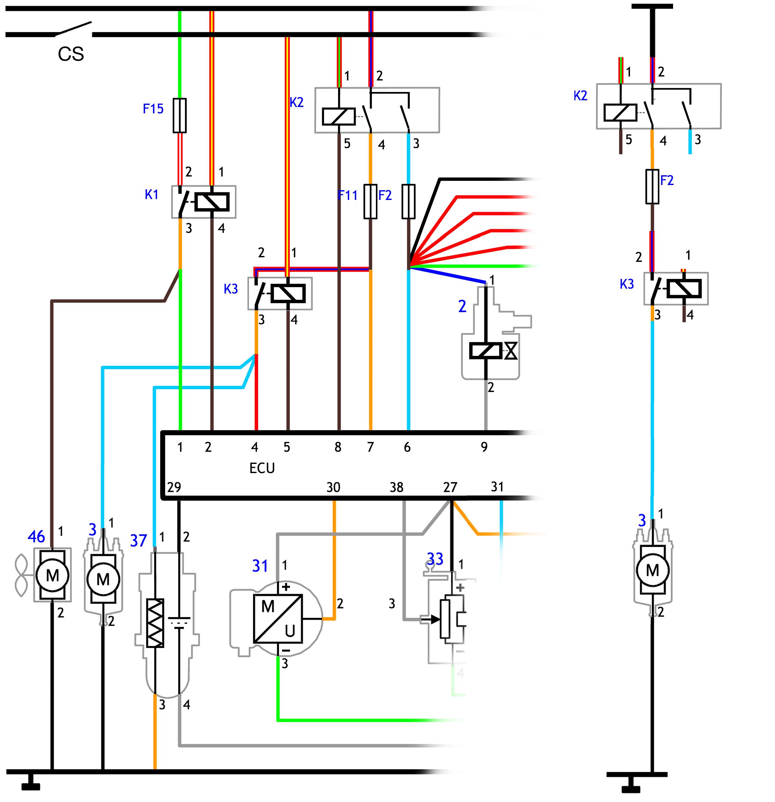 Links: deelschema motormanagement. Rechts: afge- peld schema met één verbruiker, de brandstofpomp.