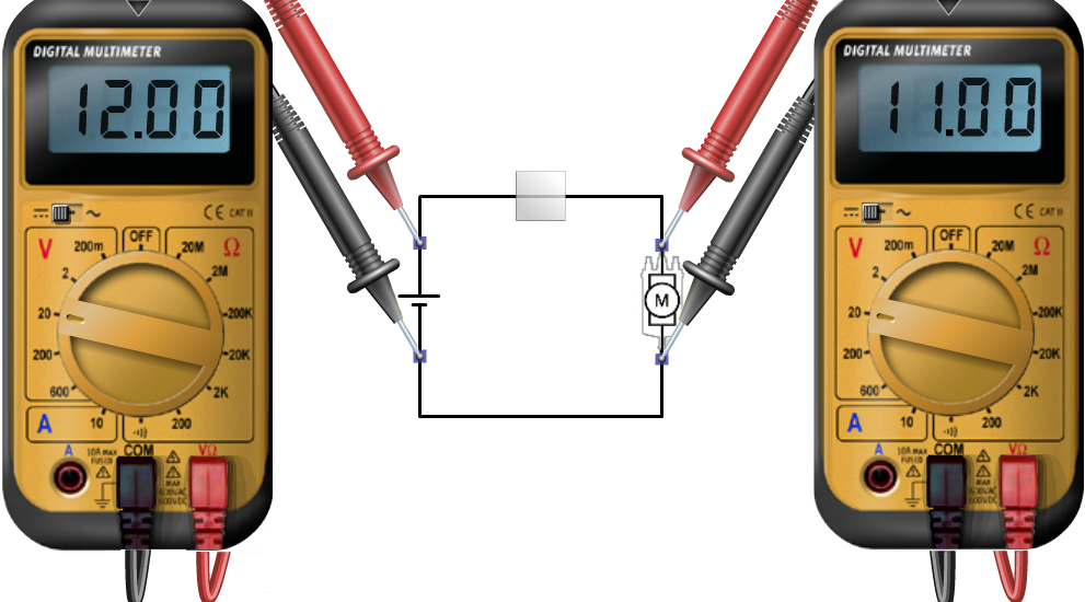 Links meting V1, rechts meting V2. De batterijspanning is 12 V, die over de verbruiker 11.