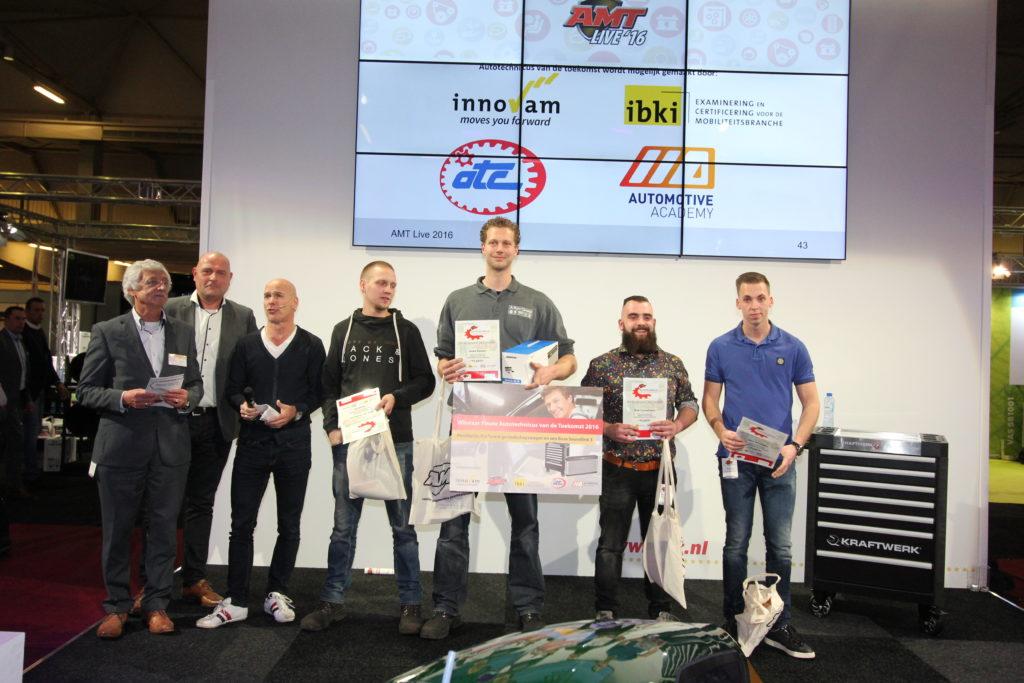 Jesse Sassen is Autotechnicus van de toekomst, maar ook Bob van Driessche, Rob Cornelissen en Mike Verstegen gaan niet met lege handen naar huis.