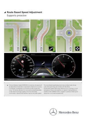 Snelheidsregeling gekoppeld aan de wegenkaart, voor automatisch op tijd snelheid minderen. Let op het digitale display van 12,3 inch, geen enkele van de getoonde meters is 'echt'.