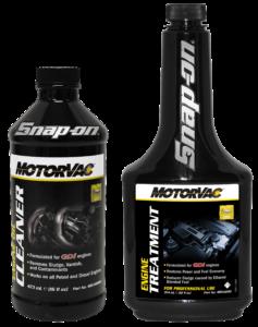 Beantwoord de motorolie vragen en verdien dit Snap-on MotorVac-pakket, dat bestaat uit een motoroliereiniger en een conditioner.