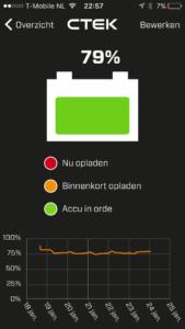 In een oogopslag zie je de status van de batterij. De gegevens worden automatisch gesynchroniseerd.