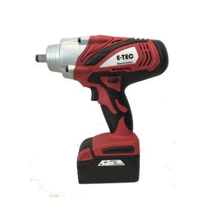 All4Car: Accu slagmoersleutel E-tec - € 399. Compactste in zijn klasse, losdraaimoment tot 1000 Nm, aandraaimoment links- en rechtsom tot 650 Nm. Ingebouwde LED werklamp, geleverd met snellader, extra accu en krachtdoppen set. Artikel E-9650.