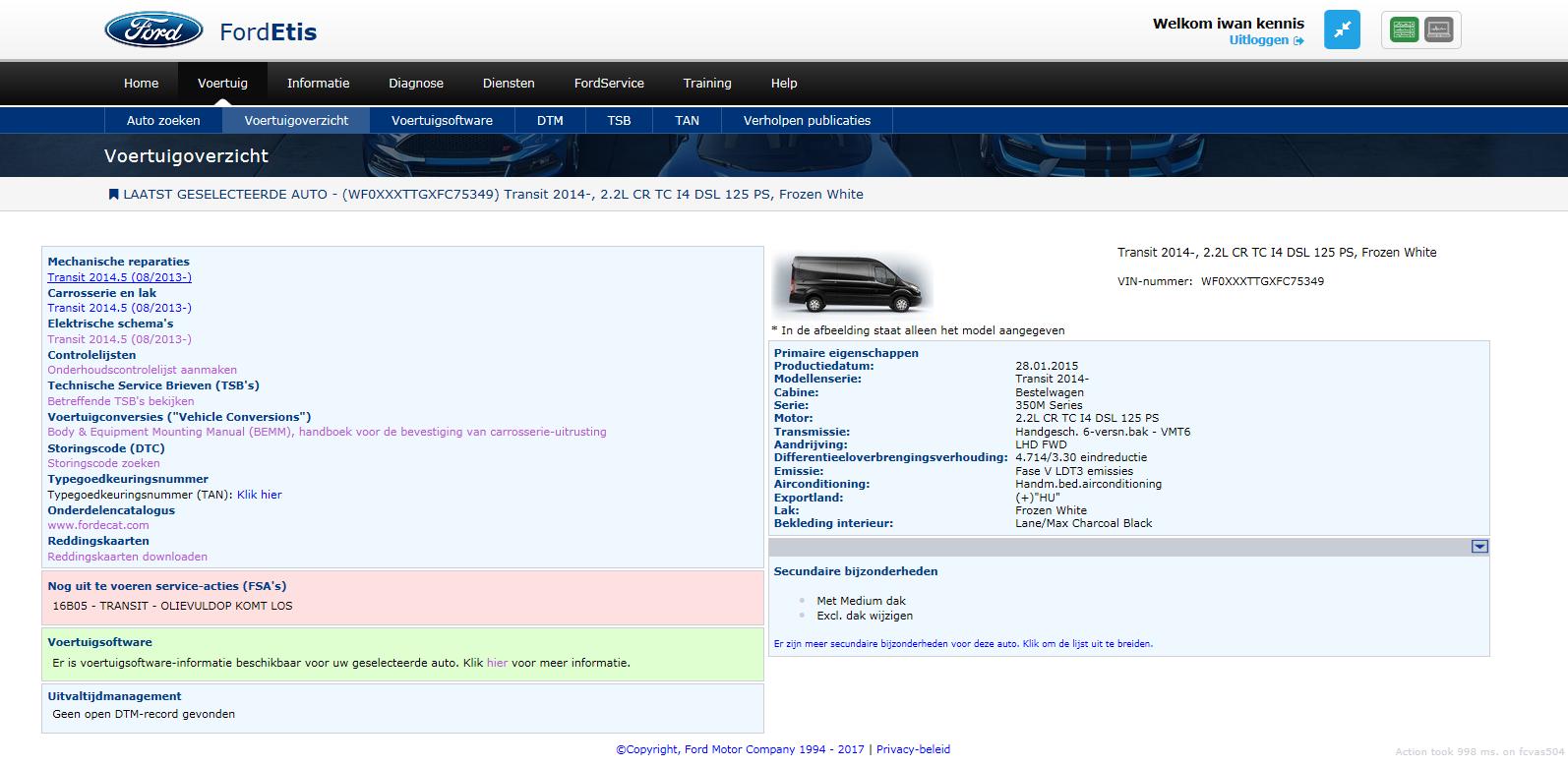 Zijn er terugroepacties bekend? Dan geeft het systeem dat weer. De Ford-dealer verhelpt die problemen kosteloos.