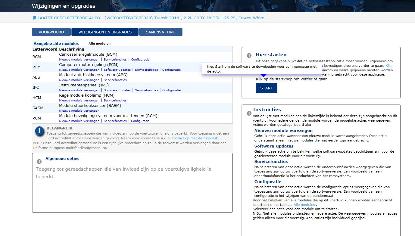 Via PassThru kun je software-updates uitvoeren, mits het voertuig van na september 2009 is.