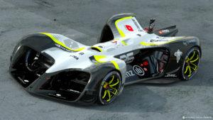 Luchtgekoelde batterijen liggen onderin de brede kiel van de Robocar, en zouden kennelijk genoeg moeten zijn voor een uur autonoom racen. De auto is bijna vijf meter lang en twee breed.