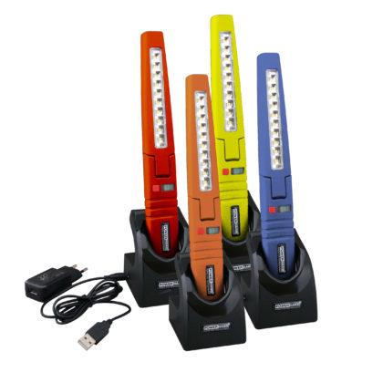 Serenco: Powerhand inspectielamp - € 49,95. Slanke lamp met LED toplicht en hoofdlicht om moeilijk bereikbare plaatsen te belichten, bijvoorbeeld bij APK inspectie. Past makkelijk in overall of werkbroek, scharnierend, met ophanghaak. Oplaadbaar via micro-USB. Artikel SIN-100.0035.