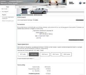 Om gebruik te maken van het BMW Group Aftersales Online System (AOS) moet je zogenoemde credits kopen. Een credit kost € 1,-.