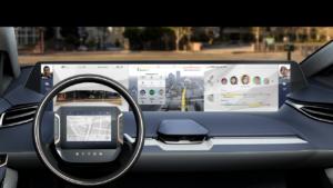 Dashboard van de toekomst, deze Byton suv-studie? Overal enorme beeldschermen, bediening zonder knoppen met spraak en gebaar. En entertainment als de auto autonoom rijdt.