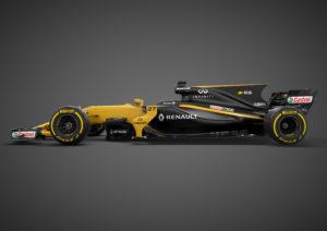 Een zij-opname van de Renault RS 17 laat zien dat F1-auto's achteraan ietsje hoger staan. Dat bevordert de venturiwerking van de bodem, met een hoek tussen 0,9 en 2,1°, zo blijkt.